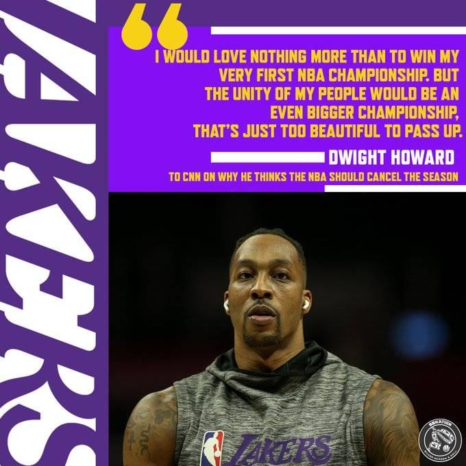 霍华德支持NBA取消本赛季