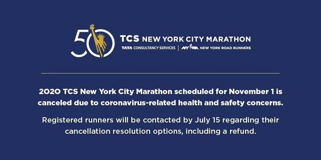 官宣!原定于11月1日举行的纽约马拉松赛取消
