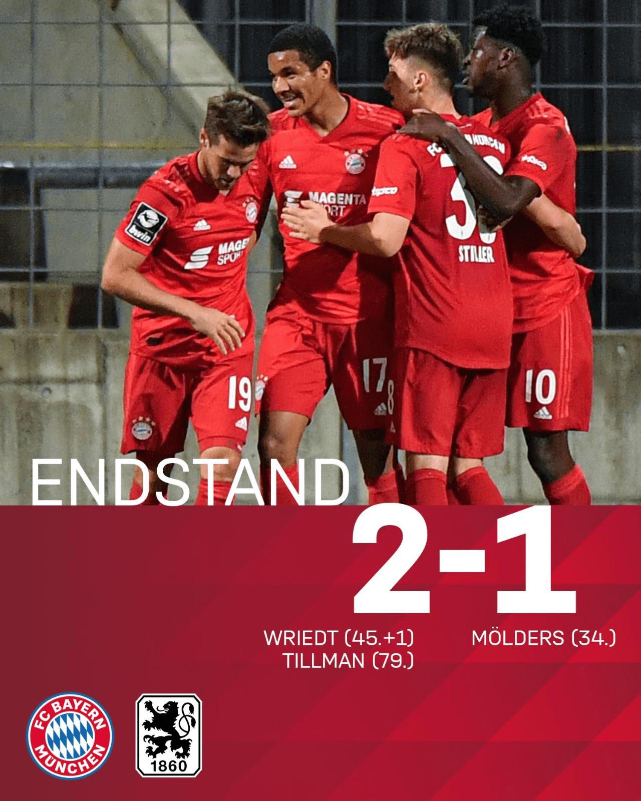 德比大战!拜仁慕尼黑2队2-1大逆转慕尼黑1860 積分创史