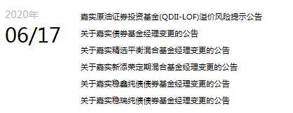 嘉实基金任职13年督察长王炜离任之前五只基金同日基金经理变更