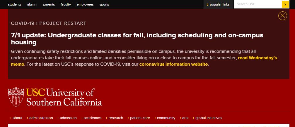 突发!南加州大学取消返校计划!