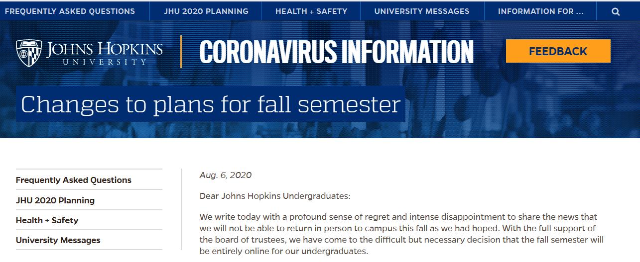 约翰霍普金斯大学秋季学期开启纯网课模式,学费减免10%!