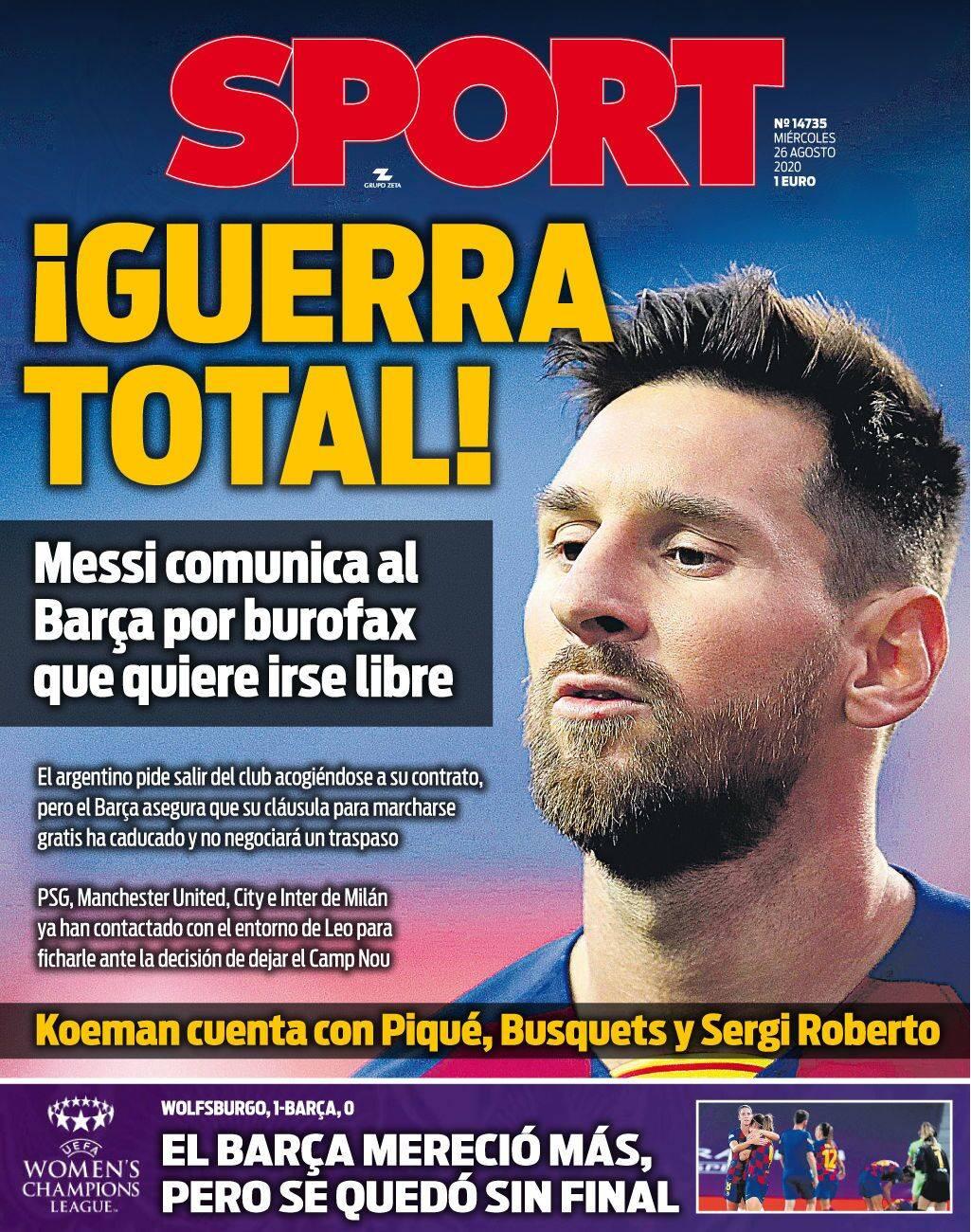 名记:梅西离队是最终决定 他不会再参加巴萨训练