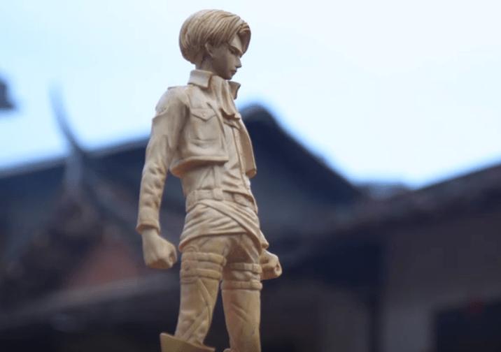 B站up主木雕师傅挑战利威尔 中国传统的木雕艺术 成品可以当手办收藏