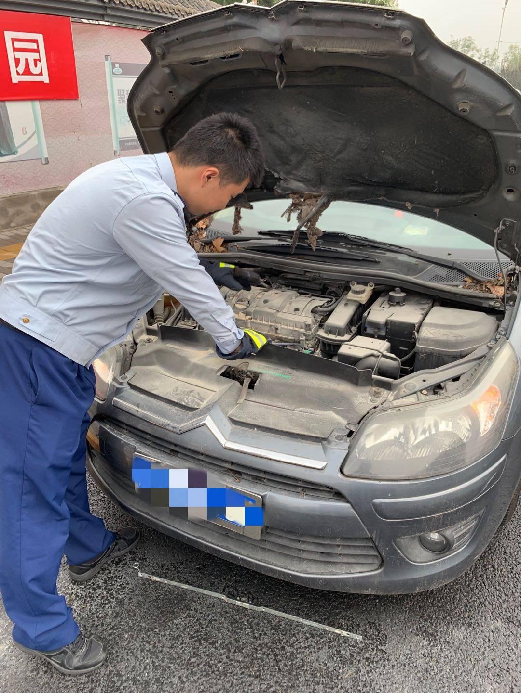 """巡逻队突然遇到一辆着火的汽车 """"火焰蓝"""