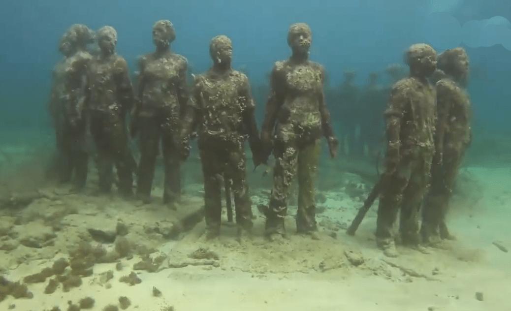 游客在海中潜水,突然发现水中诡异一幕,立马慌不择路的逃了