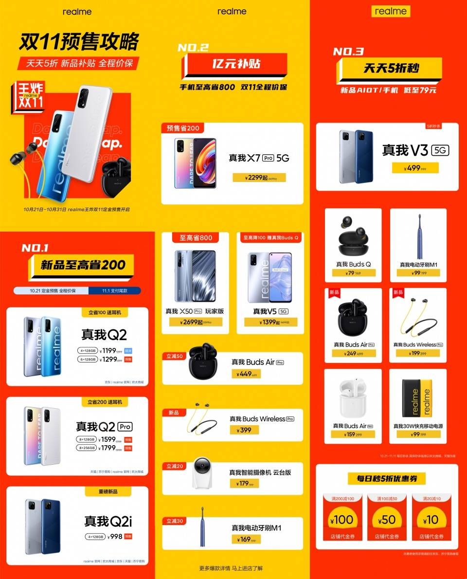 """realme真我""""王炸双11""""开启预售 Q2系列同档首款双卡双5G手机"""
