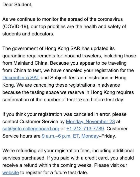 美国大学理事会(CollegeBoard)取消12月香港SAT