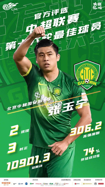 张玉宁当选中超第16轮最佳球员 梅开二