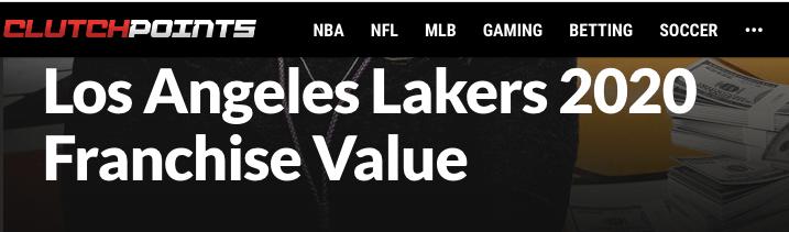 原创             44亿美元!湖人名利双收 29队绝望吧 快看不到尾灯了