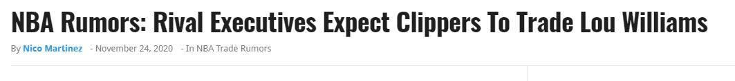 原创             曝某高管预计快船将交易路威,800万合同换控卫?快船难凑15人