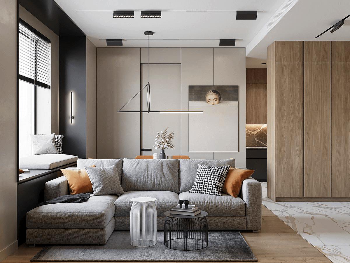 50㎡后现代风公寓,时尚的吊顶,轻奢的家具,小户型都爱这么设计