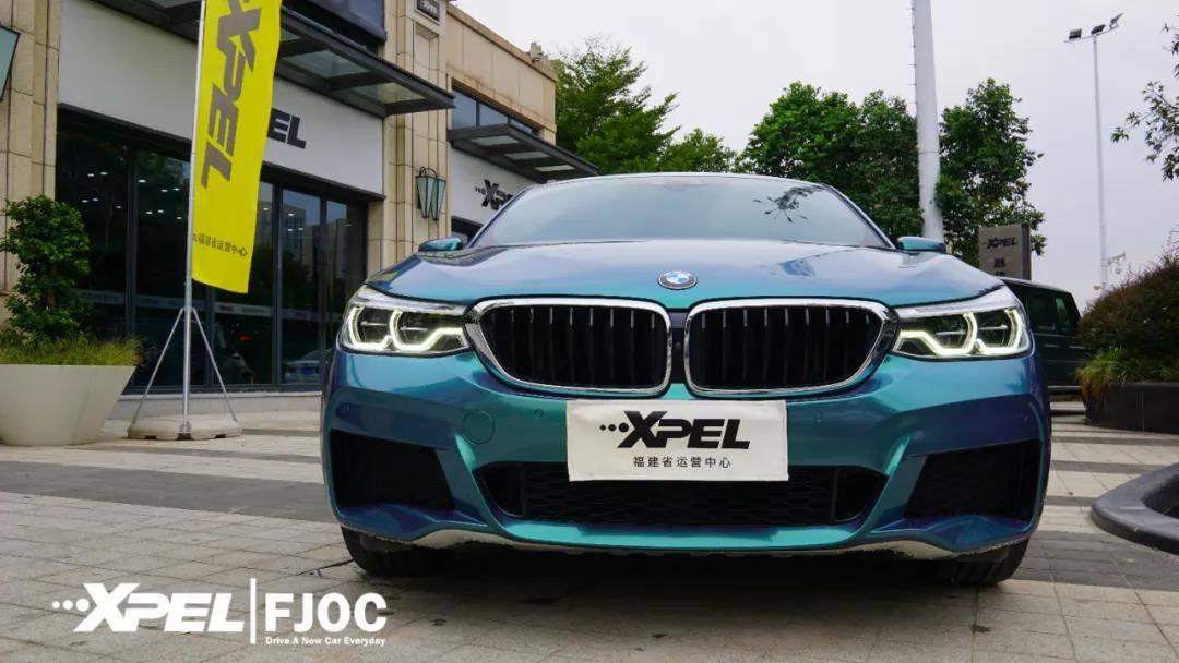 福建最好的汽车服装变色店,XPEL电影中心是宝马6系GT变色翠绿色