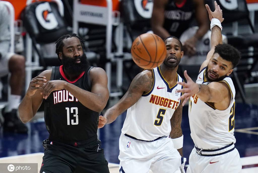2020-21赛季NBA常规赛继续进行 休斯顿火箭客场应战丹佛掘金