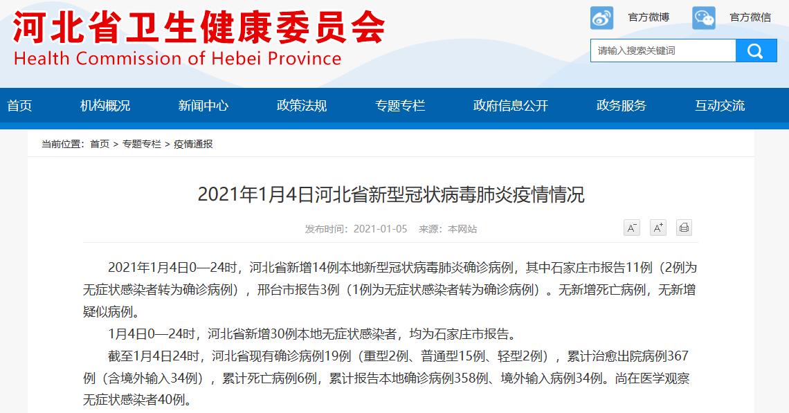 河北省1月4日新增14例确诊病例,30例无症状感染者