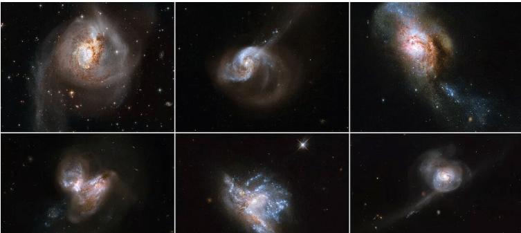哈勃望远镜提供六个星系碰撞的罕见而辉煌的景色