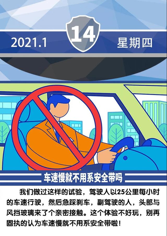 安全提示每日一图 车速慢就可以不系安全带吗?