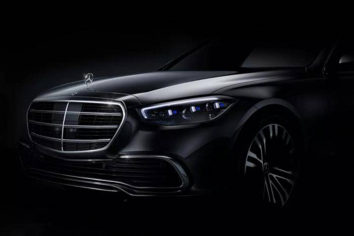奔驰发布2021款S级官方预告图:前端曝光