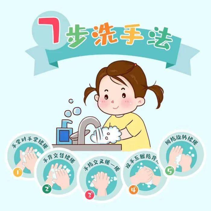 幼儿儿歌:7步洗手法+带口罩方法图片