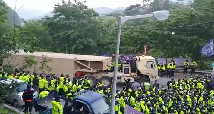 """韩国国防部证实:应美方要求连夜往""""萨德""""基地运送拦截导弹"""