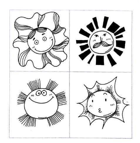 黑白简笔画,喜欢的太阳 月亮 鱼儿 花儿 创想 千千简笔画移动版