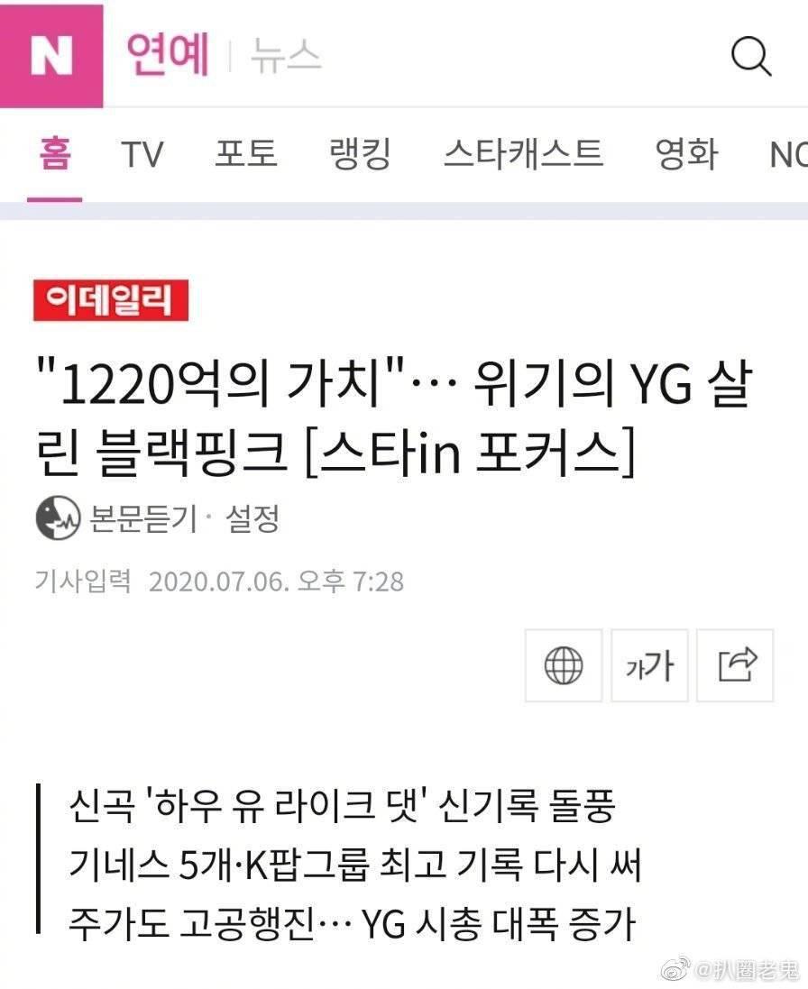 BLACKPINK回归引领YG娱乐的重生!YG娱乐市价总额增加了1220亿韩元