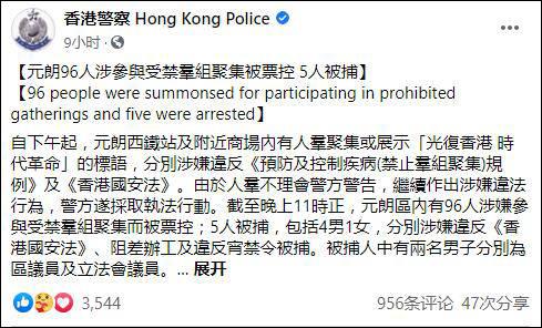 光明之舟元朗示威96人被票控5人被捕:区