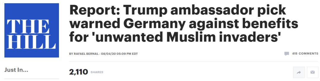 """特朗普又派了一个""""狠人""""当大使!"""