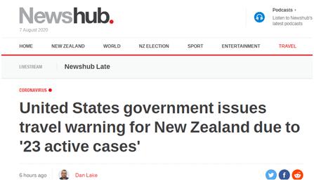 """美国对新西兰发布""""旅行警告"""",称该国仍有""""23例新冠活跃病例"""",新西兰网友被逗乐了…"""