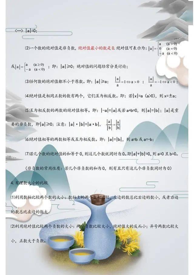 七年级数学上册:各单元重点知识清单!含必考内容,建议提前掌握