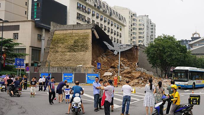 西安明秦王府城墙坍塌:专家称连续暴雨所致,修复难度不大