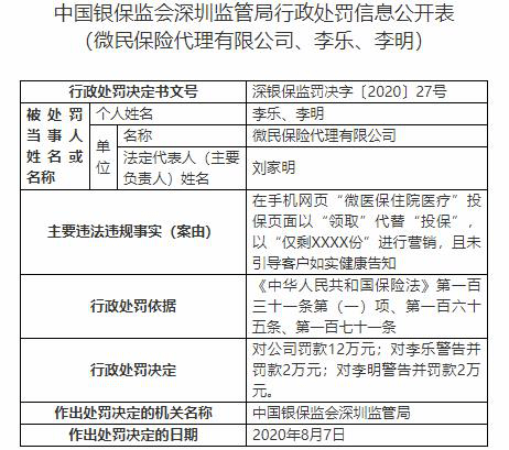 腾讯旗下微保3宗违法遭罚 涉嫌欺骗投保人