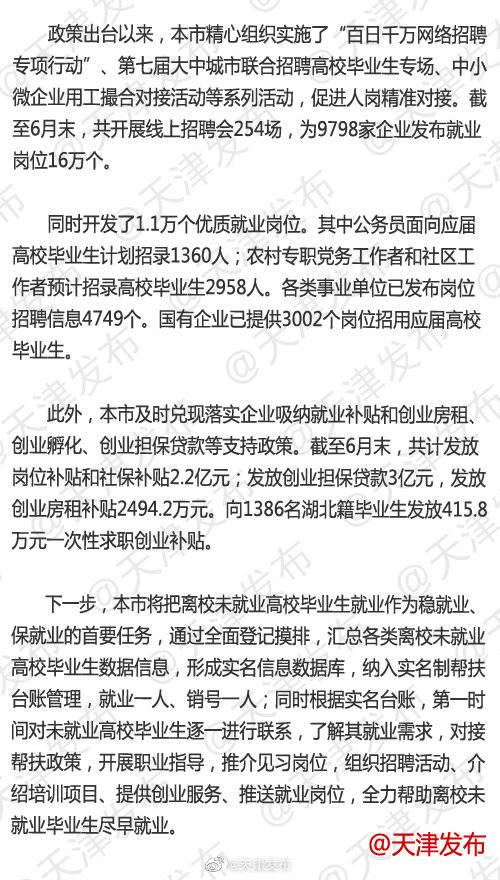 天津持续推动高校毕业生40条落地实施
