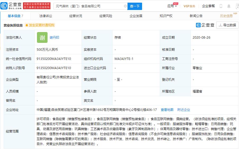 袁琪森林在厦门设立全资子公司 注册资本500万