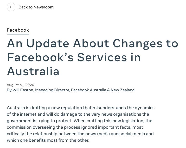 澳大利亚要科技巨头为内容付费 脸书:拟限制用户分享新闻