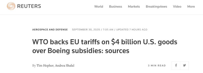 美欧贸易战再次升级! 世贸组织同意欧盟向美国40亿美元商品加税