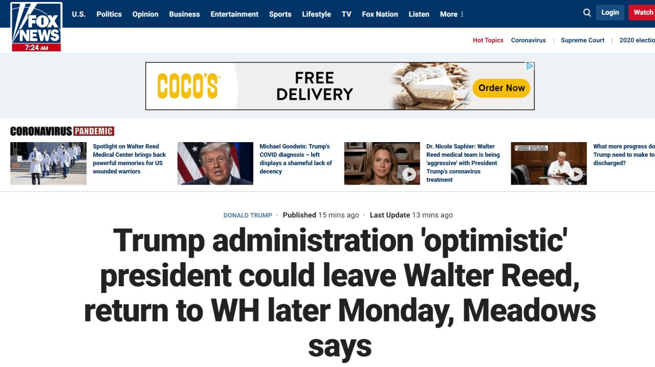"""快讯!白宫幕僚长:特朗普情况""""持续好转"""",已准备好回归正常工作"""