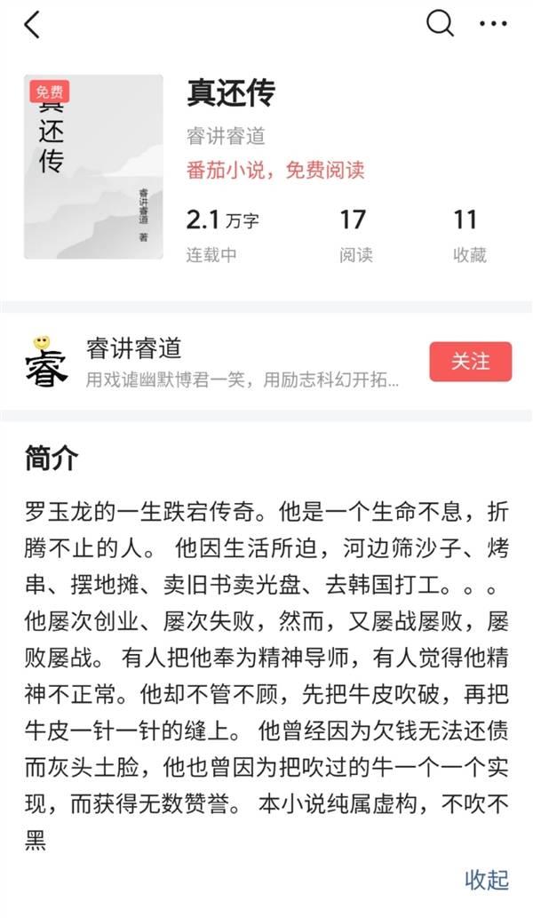 罗永浩真还传小说出炉 番茄小说作者一个月80万收入