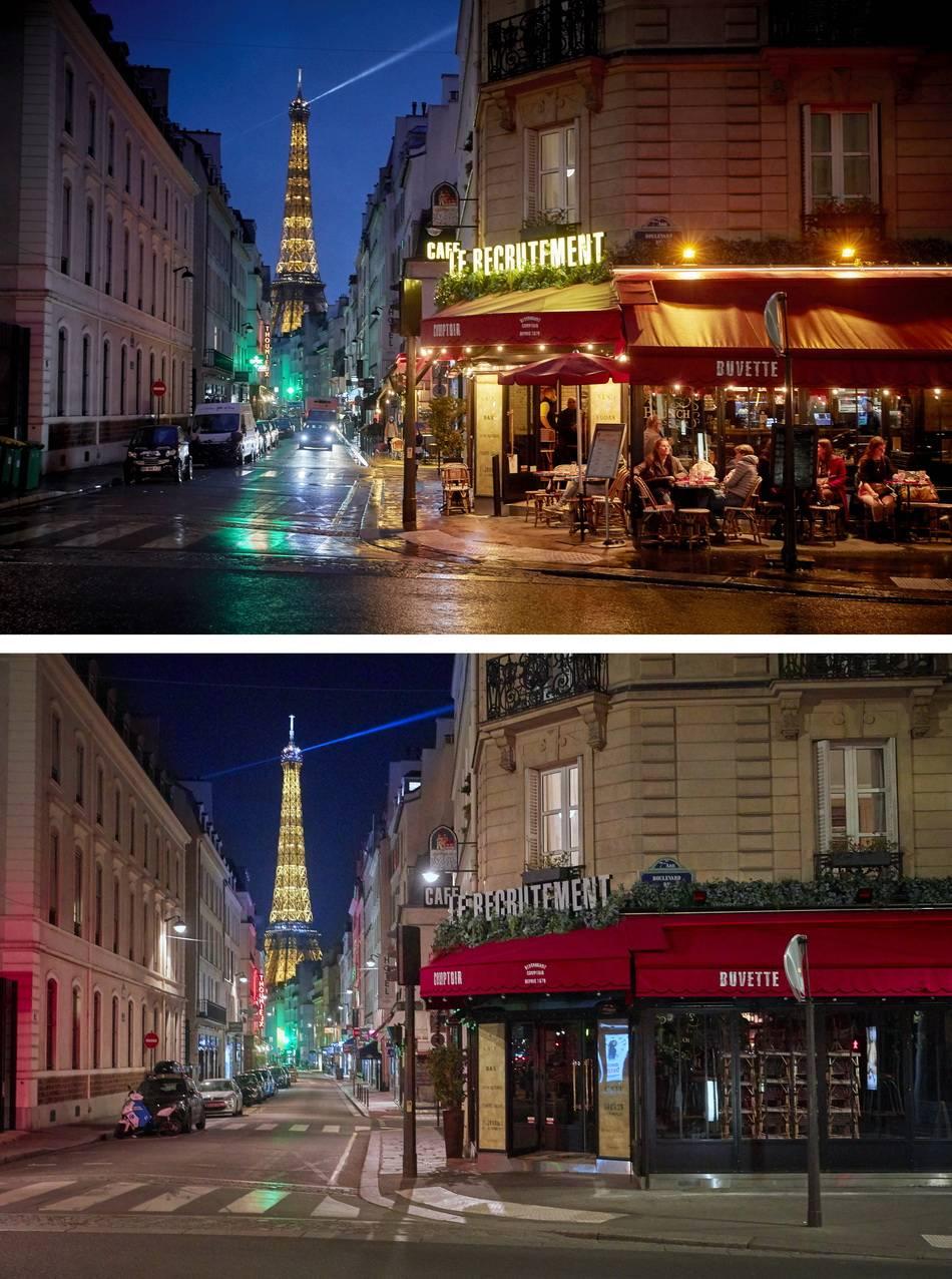 直击|巴黎宵禁后街景对比:为了黎明的曙光,暂别法式夜生活