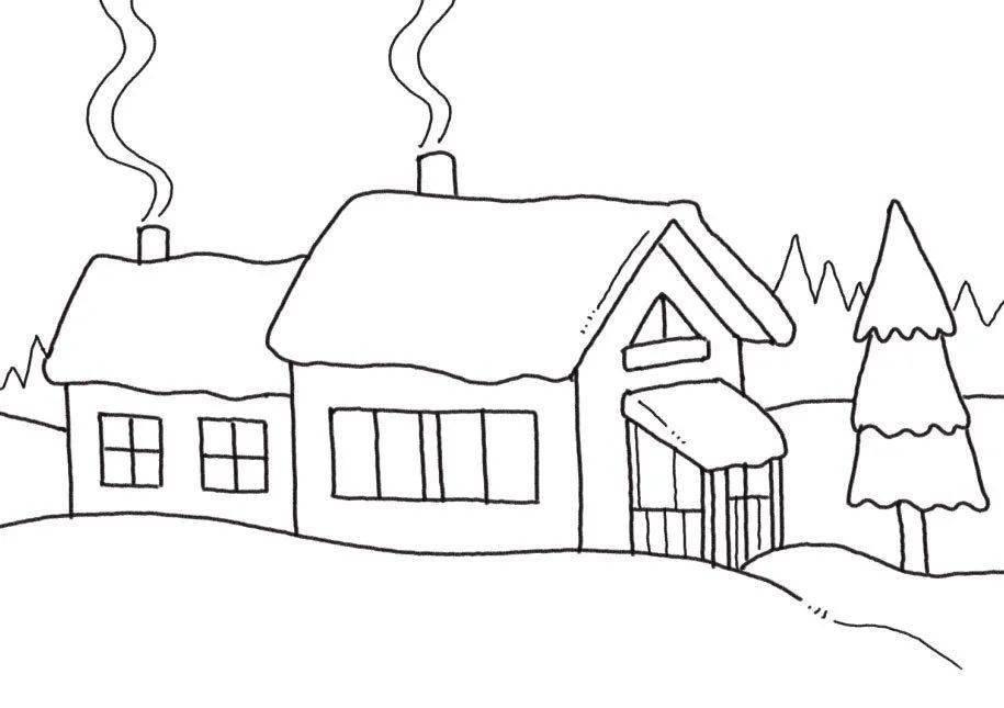 雪屋简笔画冬季雪屋简笔画彩色画法步骤图解教程 简笔画
