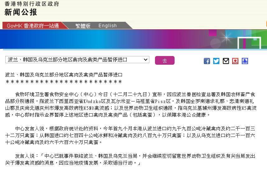 香港暂停进口波兰、韩国及乌克兰部分地区禽肉及禽类产品