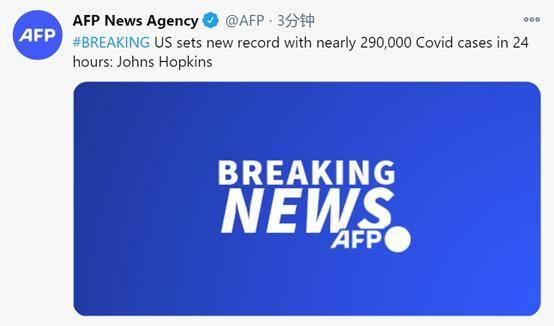快讯!外媒:美国24小时内新增近29万新冠确诊病例,创历史新高