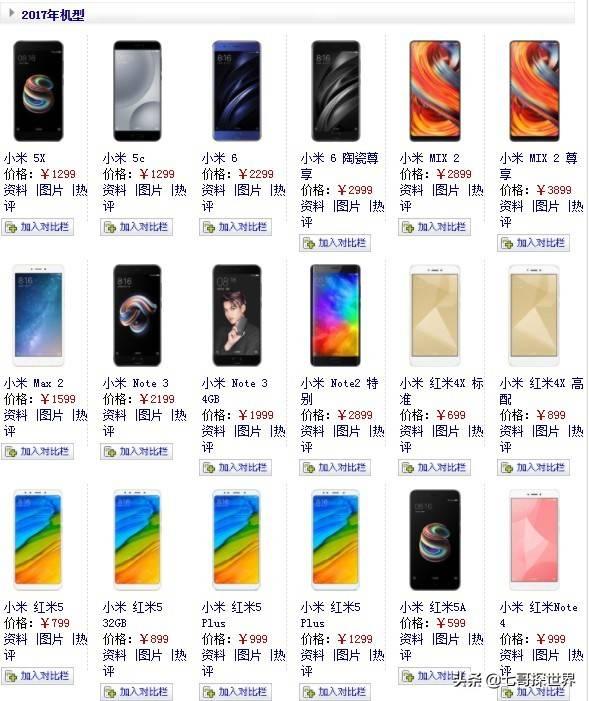 小米手机型号大全(小米全部手机型号机型表)