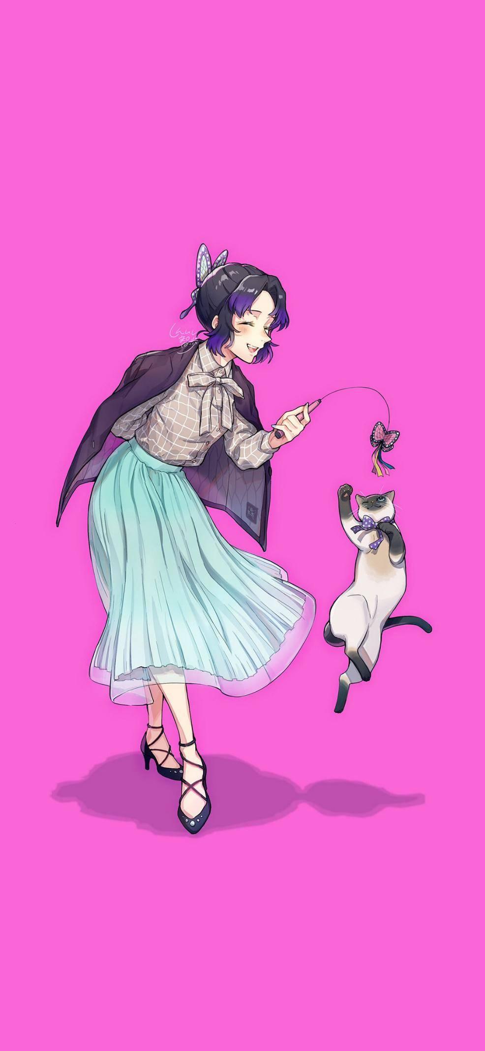 《鬼灭》九柱和他们的小猫咪,恋柱养的是布偶
