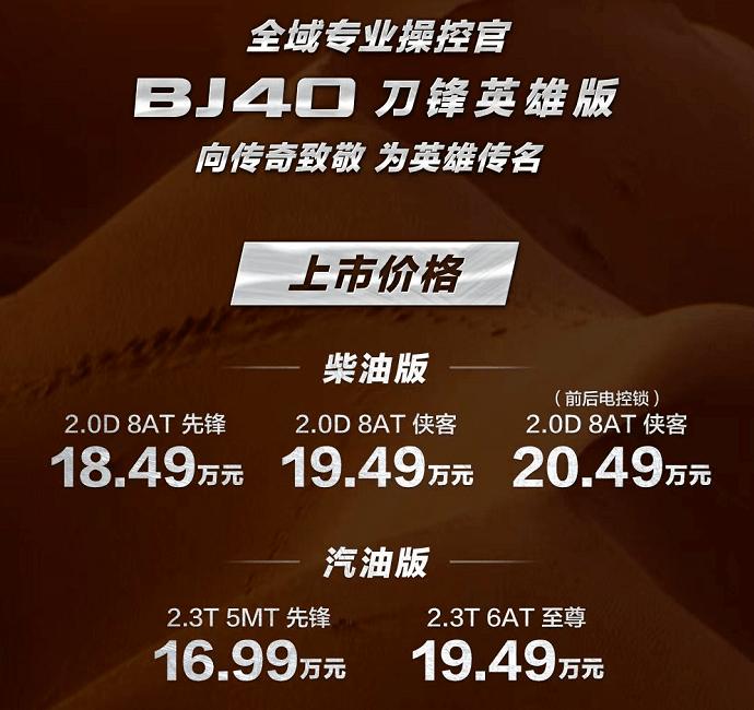 柴油+汽油+三把锁 BJ40刀锋英雄版16.99万起售