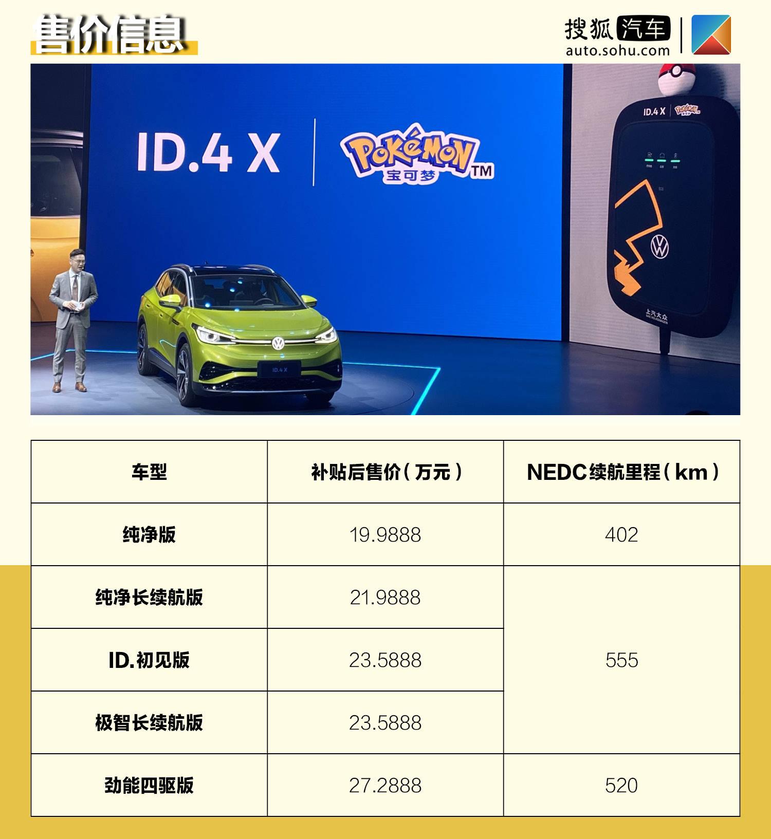 补贴后售价19.9888-27.2888万元 上汽大众ID.4 X正式交付
