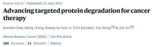 CULLGEN联合创始人在Nature Reviews Cancer发表靶向蛋白降解综述