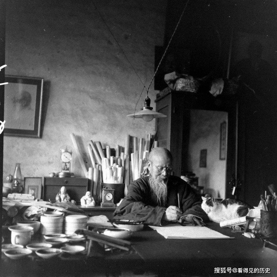民国老照片 84岁的齐白石在北京