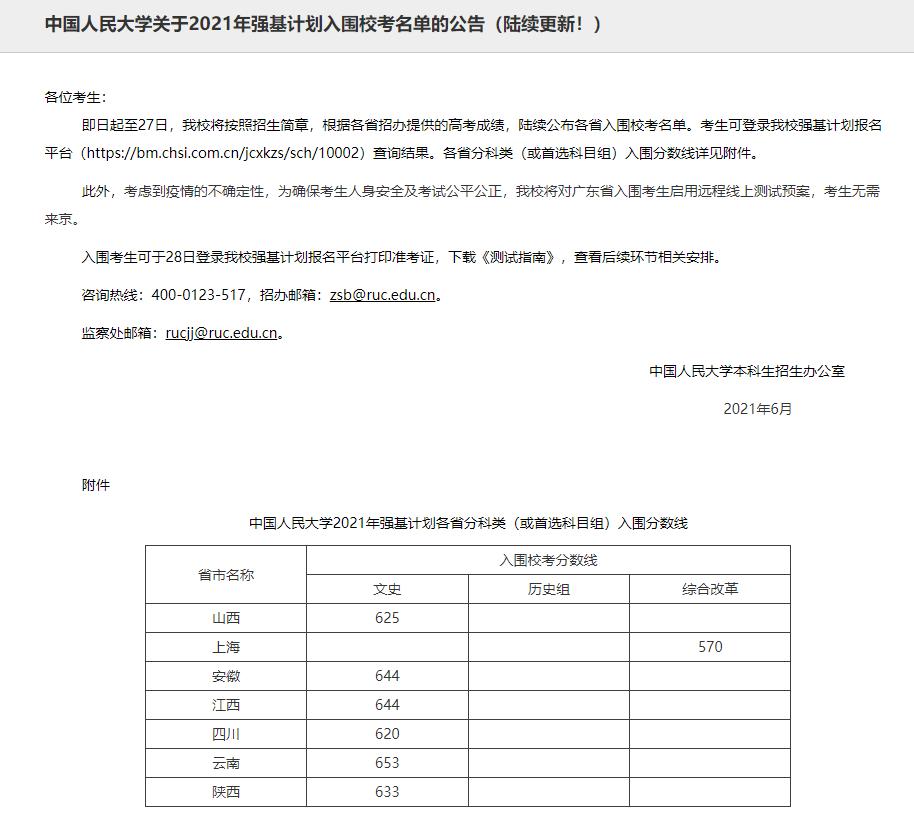 重磅!中国人民大学首发2021强基计划入围分数线!速看!