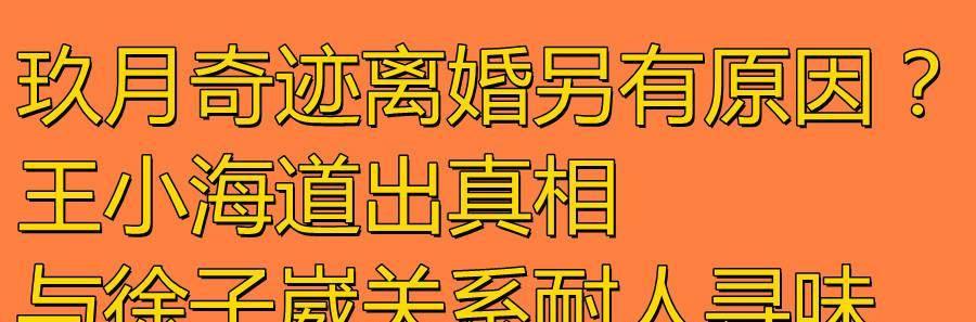 玖月奇迹离婚另有原因?王小海道出真相,与徐子崴关系耐人寻味!